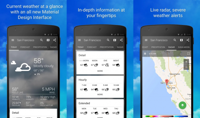 Aplicaciones del tiempo para Android