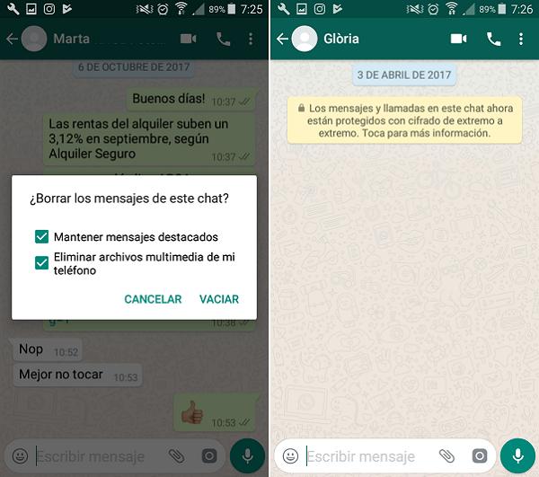 Cómo eliminar mensajes de WhatsApp