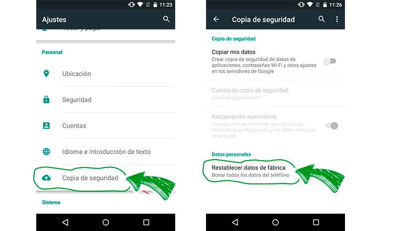 resetea tu Smartphone Android