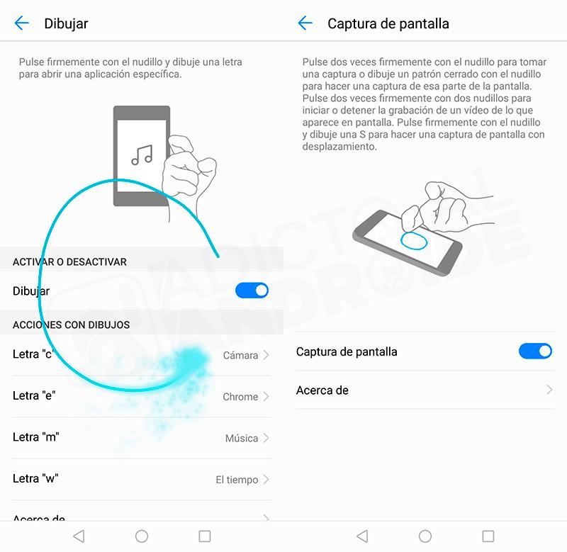usar los gestos con nudillos para controlar el Huawei Mate 10 PRO
