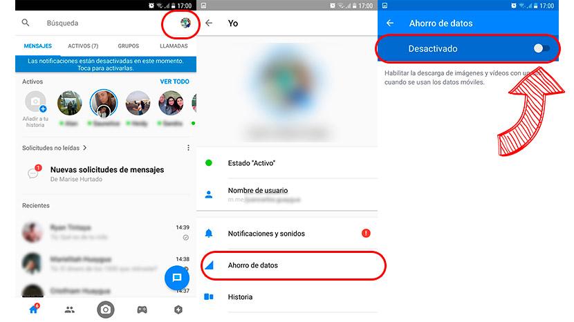 Activar ahorro de datos en Facebook Messenger