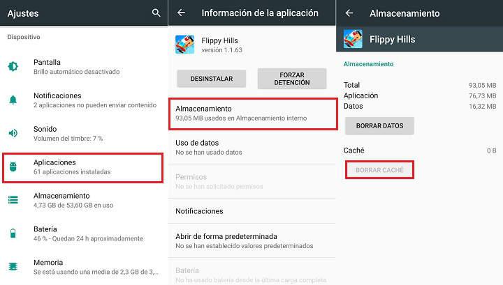 Borrar los datos de las aplicaciones