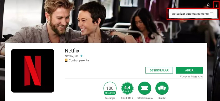 evitar que se actualice Netflix automáticamente