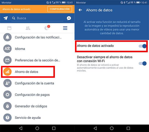 Cómo activar el ahorro de datos en Facebook