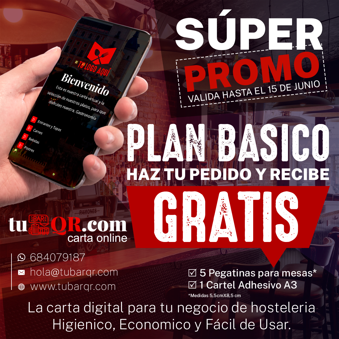 Oferta tu bar qr carta digital